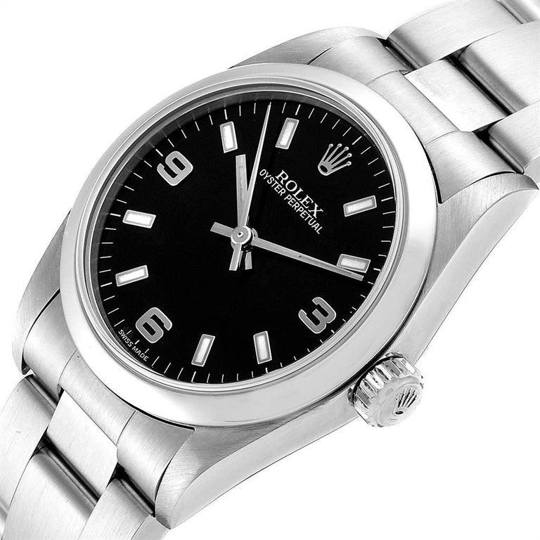 Rolex Midsize 31 Black Dial Domed Bezel Steel Ladies Watch 77080 For Sale 1