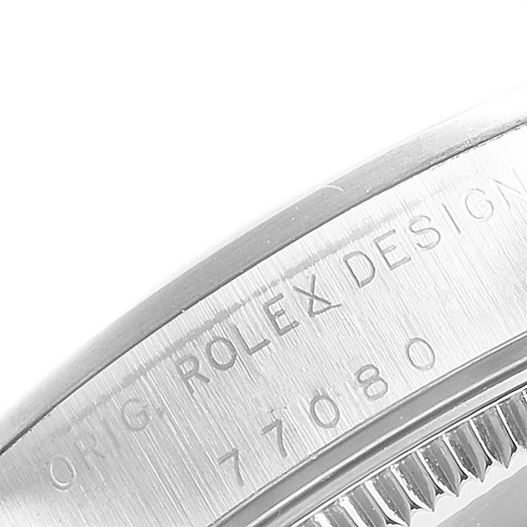 Rolex Midsize 31 Black Dial Domed Bezel Steel Ladies Watch 77080 For Sale 2