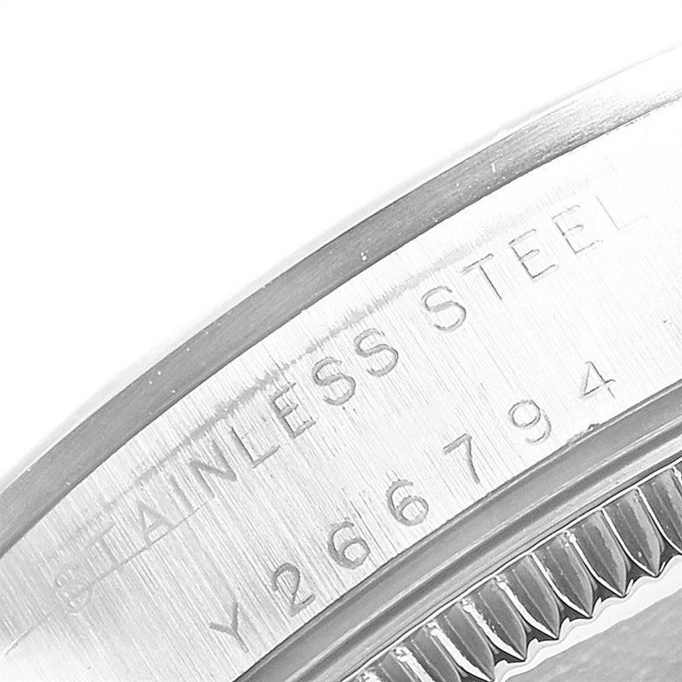 Rolex Midsize 31 Black Dial Domed Bezel Steel Ladies Watch 77080 For Sale 3