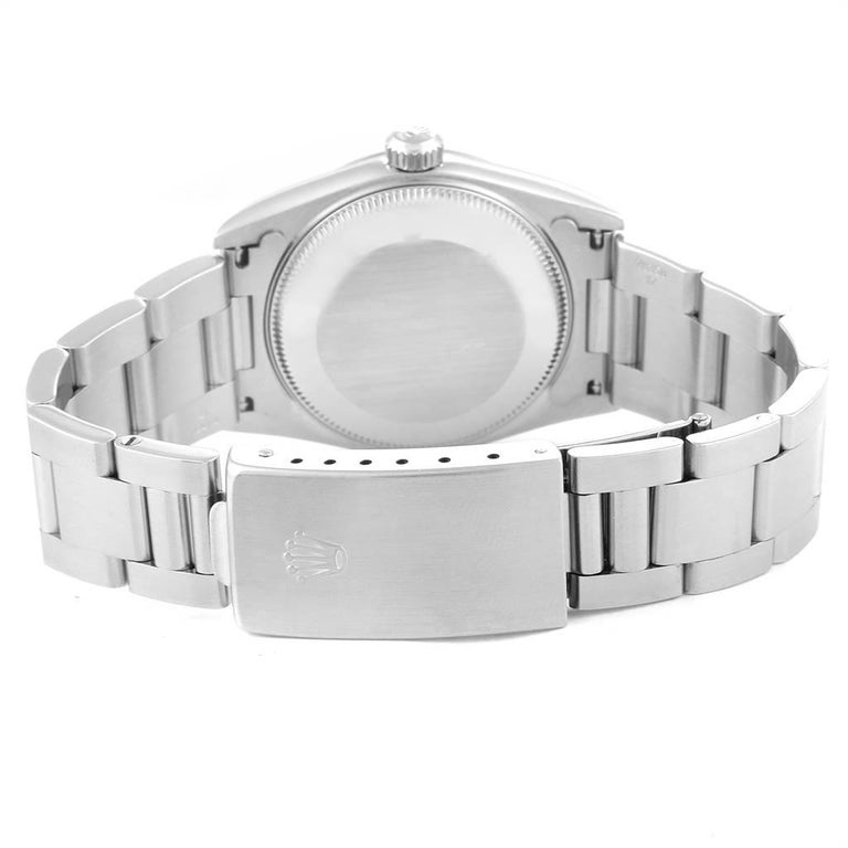 Rolex Midsize 31 Black Dial Domed Bezel Steel Ladies Watch 77080 For Sale 5