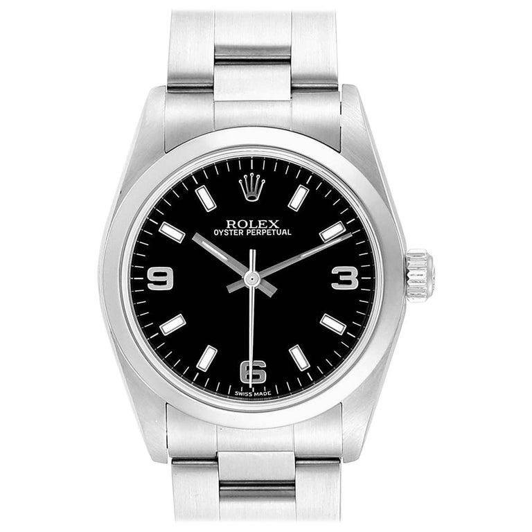 Rolex Midsize 31 Black Dial Domed Bezel Steel Ladies Watch 77080 For Sale