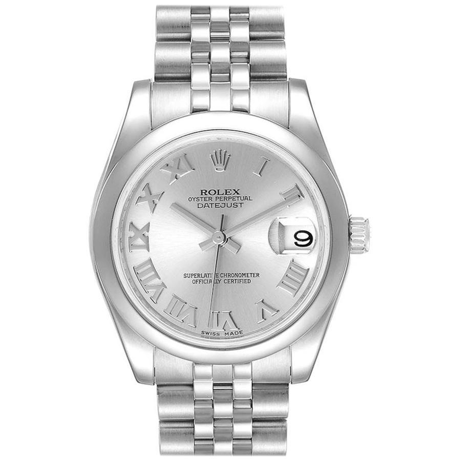 Rolex Midsize 31 Datejust Silver Dial Domed Bezel Steel Watch 178240 Box Card