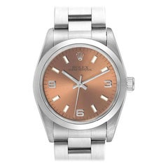 Rolex Midsize 31 Salmon Dial Oyster Bracelet Ladies Watch 67480 Papers