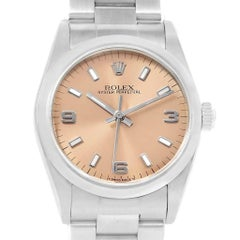 Rolex Midsize Salmon Dial Automatic Steel Ladies Watch 67480