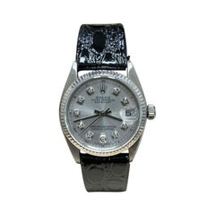 Rolex Midsize 6827 Diamond Dial Stainless Steel Leather Strap