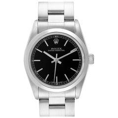 Rolex Midsize Black Baton Dial Steel Ladies Watch 77080