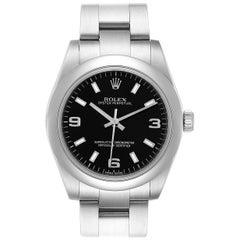 Rolex Midsize Black Dial Domed Bezel Steel Ladies Watch 177200