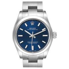 Rolex Midsize Blue Dial Automatic Steel Ladies Watch 277200 Unworn