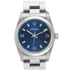 Rolex Midsize Blue Dial Automatic Steel Ladies Watch 67480 Papers