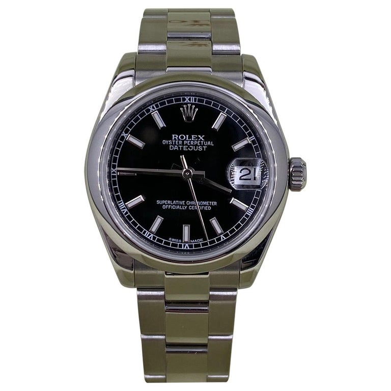 Rolex Midsize Datejust 178240 Black Dial Stainless Steel Box Papers 2011 For Sale
