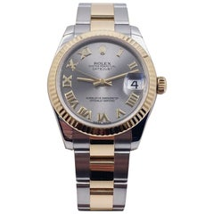 Rolex Midsize Datejust 178273 Silver Dial 18 Karat Yellow Gold Stainless Steel