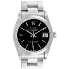 Rolex Midsize Datejust 31 Black Dial Domed Bezel Ladies Steel Watch 68240