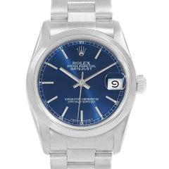 Rolex Midsize Datejust 31 Blue Dial Ladies Steel Watch 68240