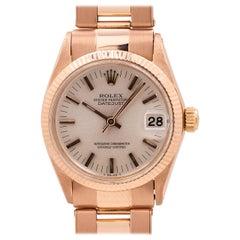 Rolex Midsize Datejust Ref 6827 18 Karat Pink Gold, circa 1973