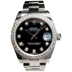 Rolex Midsize Datejust, Stainless with Black Diamond Dial and Diamond Bezel