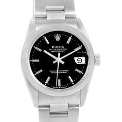 Rolex Midsize Datejust Steel Black Baton Dial Ladies Watch 68240