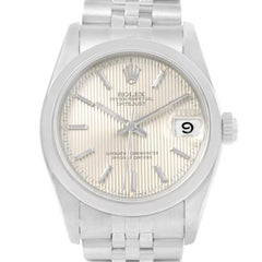 Rolex Midsize Datejust Steel Silver Tapestry Dial Ladies Watch 68240