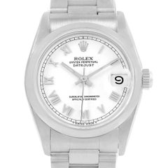 Rolex Midsize Datejust White Roman Dial Ladies Steel Watch 68240