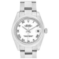 Rolex Midsize Datejust White Roman Dial Steel Ladies Watch 178240