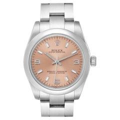 Rolex Midsize Salmon Dial Domed Bezel Steel Ladies Watch 177200
