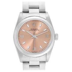 Rolex Midsize Salmon Dial Domed Bezel Steel Ladies Watch 77080