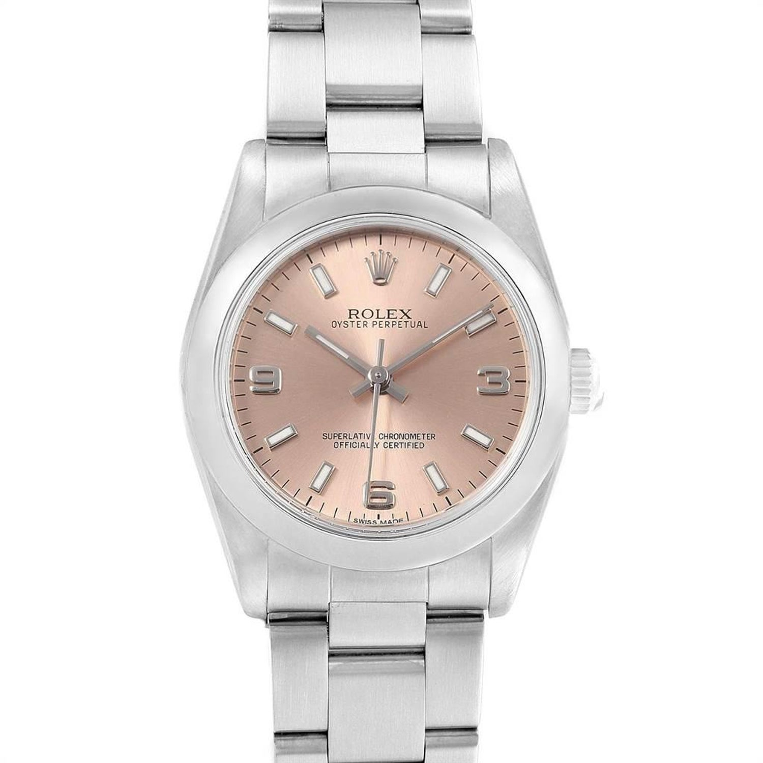 cd641dfd1c5 Rolex Midsize Salmon Dial Smooth Bezel Steel Ladies Watch 77080 For ...