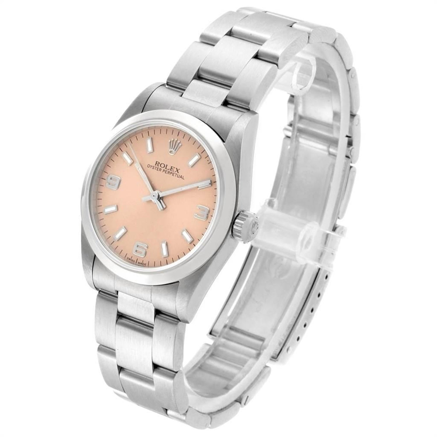 cfd0bdd423f Rolex Midsize Salmon Dial Smooth Bezel Steel Ladies Watch 77080 For Sale at  1stdibs