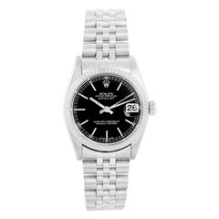 Rolex Midsize Stainless Steel Datejust Black Dial Watch 78274