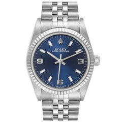 Rolex Midsize Steel White Gold Silver Dial Ladies Watch 77014