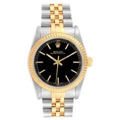 Rolex Midsize Yellow Gold Steel Black Dial Ladies Watch 67513