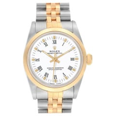 Rolex Midsize Yellow Gold Steel White Dial Ladies Watch 67513