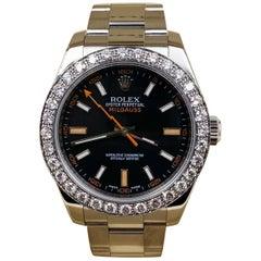 Rolex Milgauss 116400 Diamond Bezel Stainless Steel Watch with Box