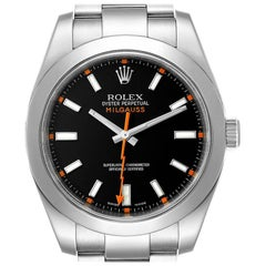 Rolex Milgauss Black Dial Domed Bezel Steel Men's Watch 116400 Box Card