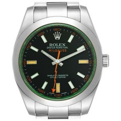 Rolex Milgauss Black Dial Green Crystal Men's Watch 116400V Box Card