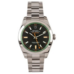 Rolex Milgauss Black Dial Green Crystal Oyster Bracelet Unisex Watch, 116400