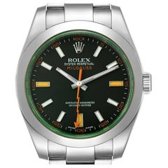 Rolex Milgauss Black Dial Green Crystal Steel Men's Watch 116400 Box Card