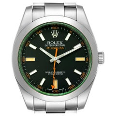 Rolex Milgauss Black Dial Green Crystal Steel Men's Watch 116400V Box Card