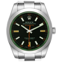 Rolex Milgauss Black Dial Green Crystal Steel Men's Watch 116400V