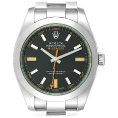 Rolex Milgauss Black Dial Green Domed Bezel Crystal Men's Watch 116400V
