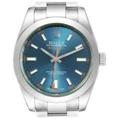 Rolex Milgauss Blue Dial Green Crystal Men's Watch 116400GV