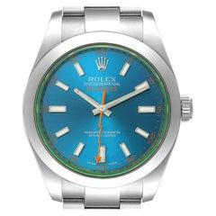 Rolex Milgauss Blue Dial Green Crystal Steel Mens Watch 116400GV Box Card