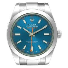 Rolex Milgauss Blue Dial Green Crystal Steel Mens Watch 116400GV Unworn