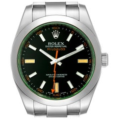 Rolex Milgauss Blue Dial Green Crystal Steel Men's Watch 116400V