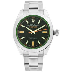 Rolex Milgauss Green Crystal Orange Hand Black Dial Men's Watch 116400GV