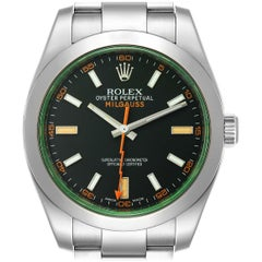 Rolex Milgauss Green Crystal Steel Men's Watch 116400V Box Card