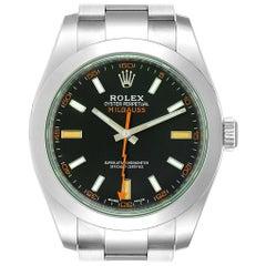 Rolex Milgauss Green Crystal Steel Men's Watch 116400V Unworn