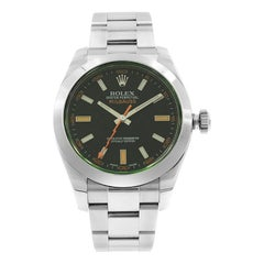 Rolex Milgauss Green Sapphire Black Dial Steel Automatic Men's Watch 116400V bko