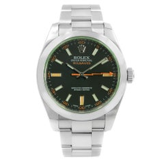 Rolex Milgauss Green Sapphire Black Index Dial Steel Automatic Watch 116400GV