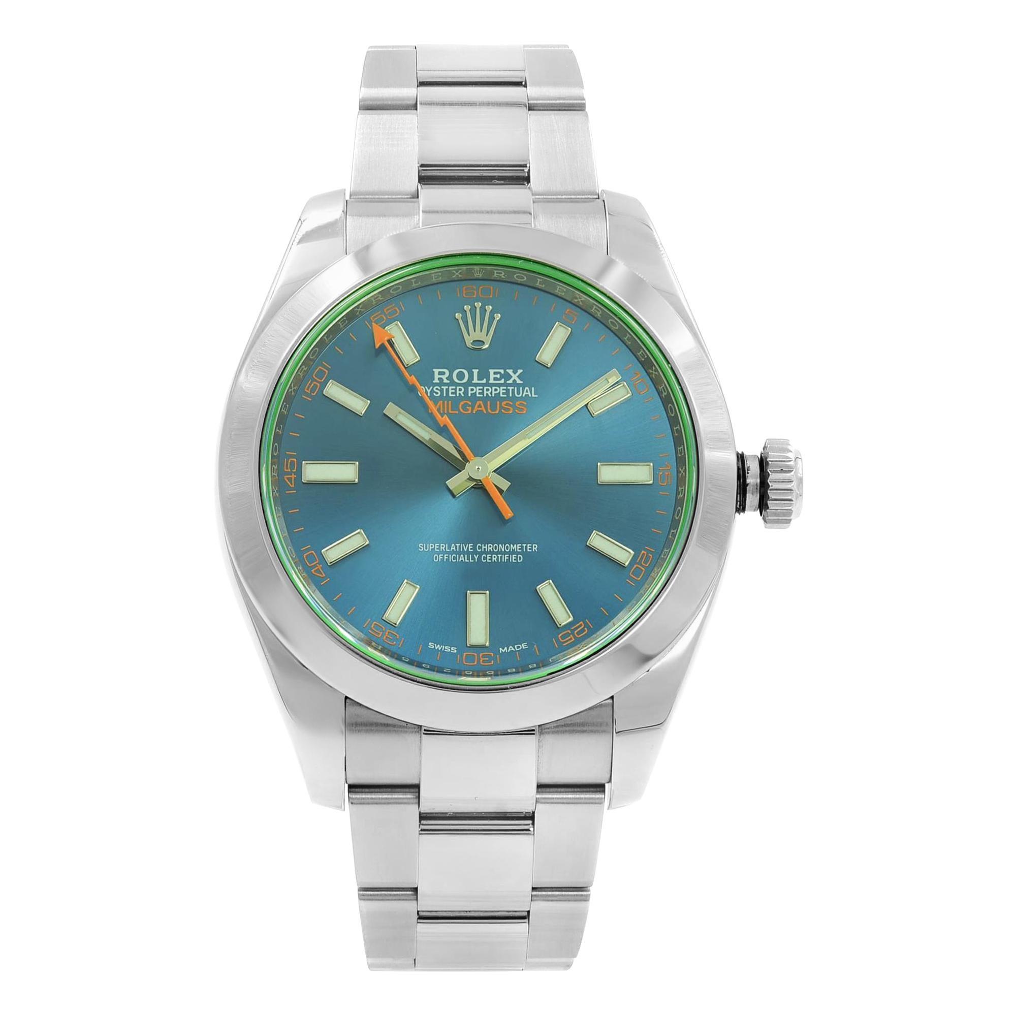 Rolex Milgauss Black Index Dial Orange Hand Automatic Steel Men\u0027s Watch  116400GV