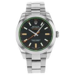 Rolex Milgauss Steel Black Dial Green Crystal Automatic Men's Watch 116400GV Bko